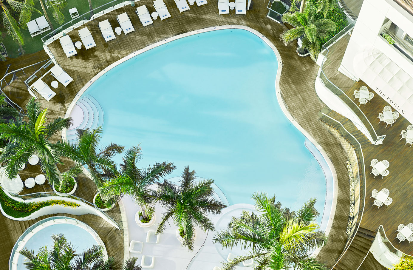 Top-view-of-the-hotel's-swimming-pool-and-The-Forum